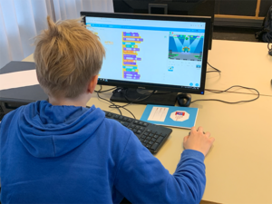Eksempel på en elev fra 6. klasse, som koder tegnefilm på tysk
